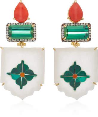Silvia Furmanovich India Marble Mosaic Green Tourmaline Earrings