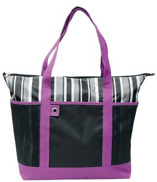 Travelwell PURPLE SHOPPING STRIPED TOTE BAG