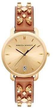 Rebecca Minkoff Billie Gold Tone Almond Strap Watch, 34mm