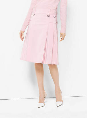 Michael Kors Washed Silk And Cotton-Faille Utility Kilt