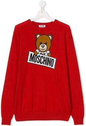 Moschino Kids TEEN logo embroidered jumper