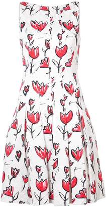 Oscar de la Renta floral-print pleated dress