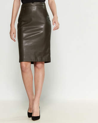 philosophy Back-Zip Faux Leather Pencil Skirt
