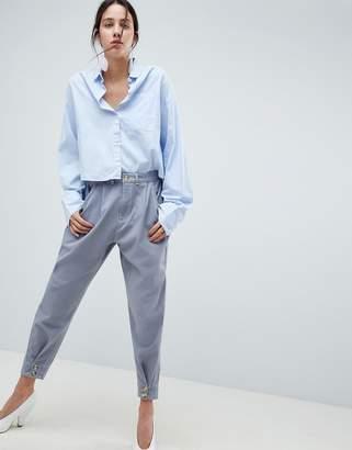 Asos Design DESIGN balloon trousers with button cinch hem