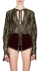 Saint Laurent Women's Silk-Blend Lamé Tieneck Blouse - Gold