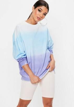Missguided Purple Ombre Drop Shoulder Oversized Sweatshirt