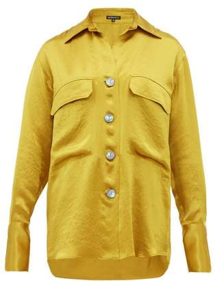 Ann Demeulemeester Spread Collar Hammered Satin Blouse - Womens - Yellow