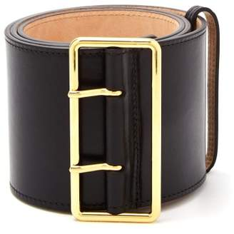 Alexander McQueen Military Wide Leather Belt - Womens - Black