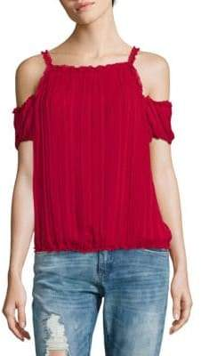 Max Studio Elasticized Cold Shoulder Top