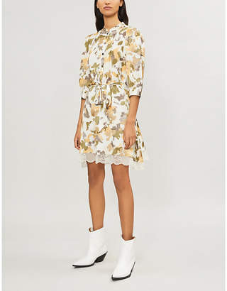Zadig & Voltaire Retouch Camou lace-trimmed camo-print satin dress