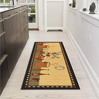 Ottomanson Siesta Collection Kitchen Chef Design (Machine-Washable/Non-Slip) Runner Rug