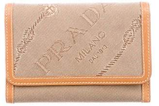 Prada Leather-Trimmed Canapa Wallet