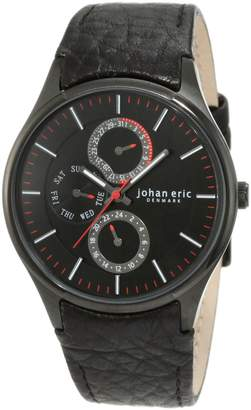 Johan Eric Men's Streur IP Leather Day Date 24 Hour Watch JE4001-13-007
