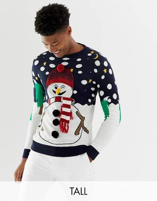 Brave Soul Tall Holidays Naughty Snowman Sweater