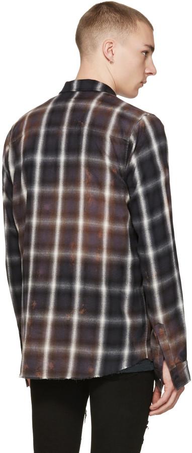 Amiri Black Spray Plaid Shirt 2