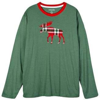 69225c72506b Hatley Men's Long Sleeve Tee - Holiday Moose on Plaid, Extra Large