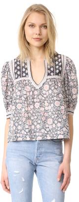 La Vie Rebecca Taylor Short Sleeve Zinnia Floral Top $195 thestylecure.com