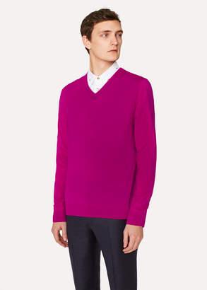Paul Smith Men's Dark Fuchsia V-Neck Merino Wool Sweater