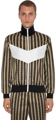 Versace Greca Printed Zip-Up Jersey Jacket