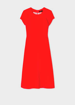 Paul Smith Women's Poppy Red Flare Silk Dress With Pleated Detailing