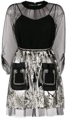 No.21 metallic-embroidered mini dress