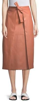 Rosetta Getty A-Line Lambskin Leather Invert Apron Wrap Skirt