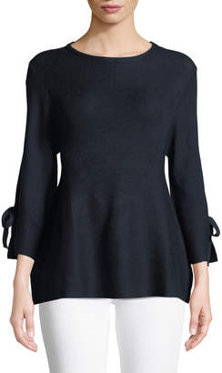 Lumie Bell-Sleeve Tie-Cuff Sweater