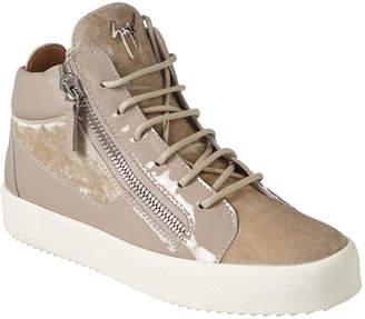Giuseppe Zanotti Velvet & Leather Mid-Top Sneaker