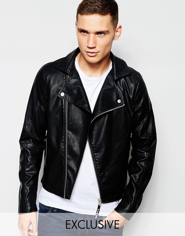 G StarG-Star BeRAW Faux Leather Biker Jacket Camcord-A in Black