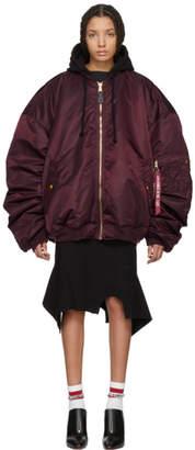 Vetements Reversible Burgundy Alpha Industries Edition Oversized Hooded Bomber Jacket