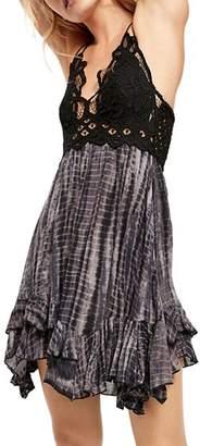 Free People Adella Lace-Trim Tie-Dye Dress