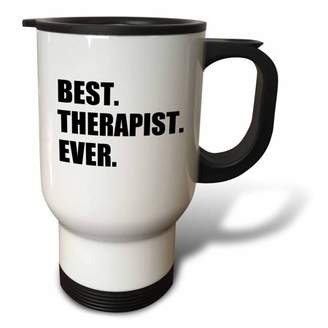 3dRose Best Therapist Ever, fun gift for shrinks and therapy jobs, black text, Travel Mug, 14oz, Stainless Steel