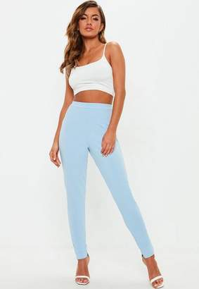 Missguided Blue Stretch Crepe Cigarette Trousers