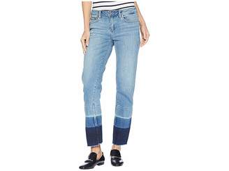 Vince Camuto Light Indigo Color Block Release Hem Crop Jeans in Spectrum Blue