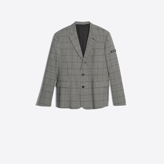 Balenciaga Single breasted jacket in Prince of Wales stretch wool twill