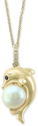 "Effy Cultured Freshwater Pearl (7-1/2mm) & Diamond Accent Dolphin 18"" Pendant Necklace in 14k Gold"