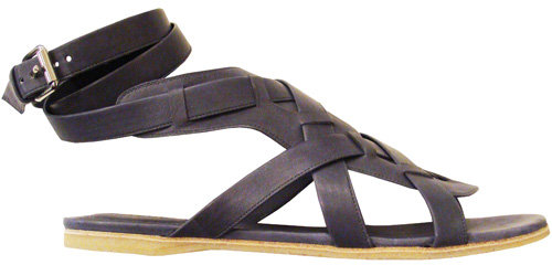 Chloé Leather Woven Sandal In Grey