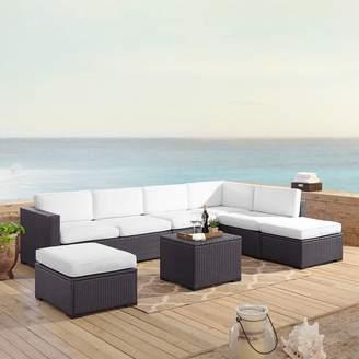 Crosley Furniture Biscayne Patio Wicker Loveseat, Chair, Ottoman & Coffee Table 6-piece Set