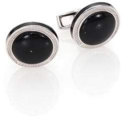 Tateossian Round Sterling Silver& Black OnyxCuff Links