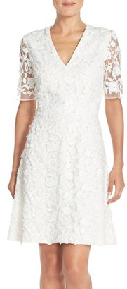 Women's Adrianna Papell Lace Mesh Fit & Flare Dress $160 thestylecure.com