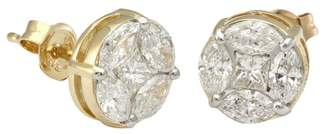 Private Label 14K Yellow Gold Marquise & Princess Cut 1.55ct Diamond Stud Earrings
