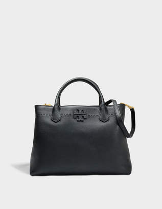 Tory Burch Mcgraw Triple Compartment Satchel Bag in Black Calfskin