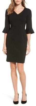 Petite Women's Halogen Ruffle Sleeve Ponte Sheath Dress $99 thestylecure.com