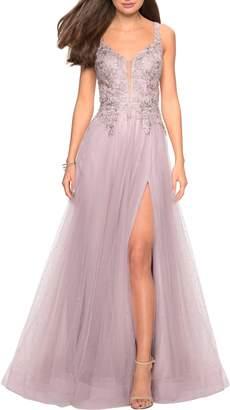 La Femme High Slit Tulle Evening Dress
