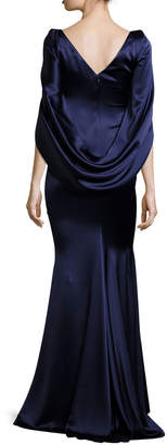 Talbot Runhof Konica Satin Cape-Back Evening Gown