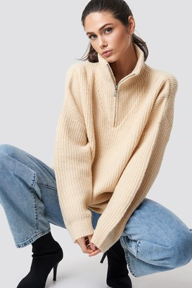 NA-KD Na Kd Front Zipper Knitted Sweater Beige
