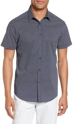 Vince Camuto Slim Fit Geometric Short Sleeve Sport Shirt