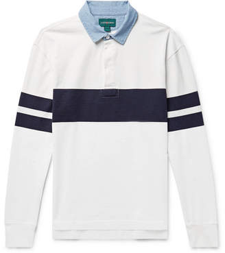 J.Crew Chambray-Trimmed Striped Cotton-Jersey Polo Shirt - Men - White