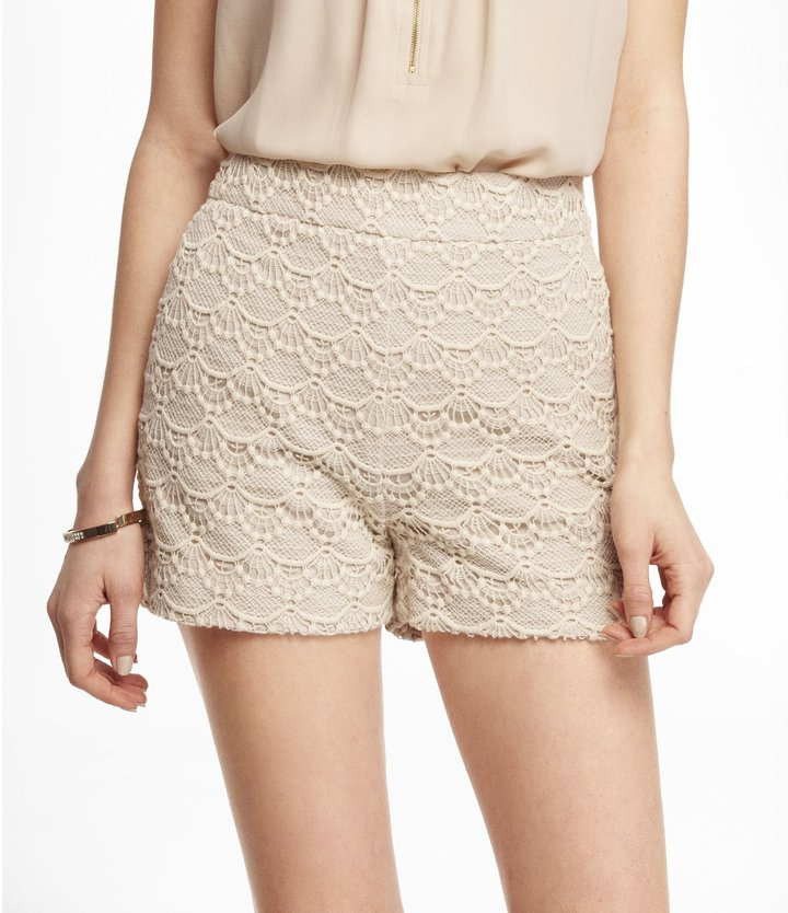 Express 2 1/2 Inch High Rise Crocheted Lace Shorts