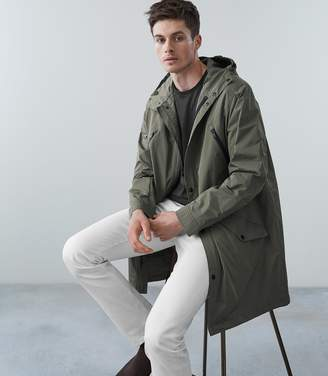Reiss FLINT LONGLINE HOODED PARKA Khaki